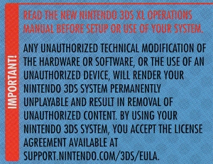 New Nintendo 3DS EULA Disclaimer